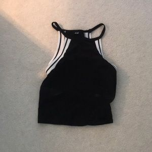 Wet seal black and white halter crop top